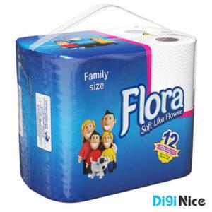 دستمال توالت حجیم شده 12 قلو فلورا