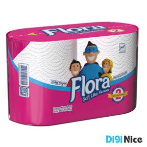 دستمال توالت دوقلو حجیم شده فلورا